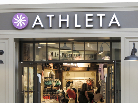 DENVER, USA - JUNE 25, 2014: Detail of Athleta store in Denver. Athleta designs athletic clothing for active women and is founded at 1998. Editorial