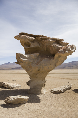 Arbol de Piedra (Stone tree) rock formation in Eduardo Avaroa Andean Fauna National Reserve in Bolivia