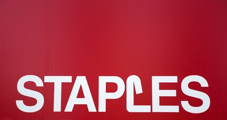 NEW YORK, USA - AUGUST 22, 2017: Detail of Staples store in New York. It is an American multinational office supply retailing corporation founded at 1986.