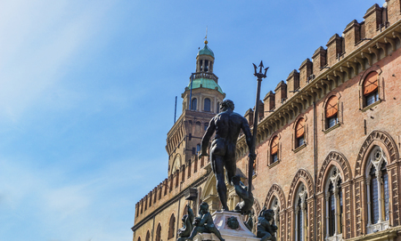 View at Fountain of Neptune in Bologna, Italy