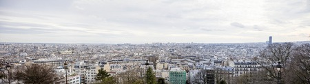 Panoramic aerial view at Paris, France from Montmartre hill