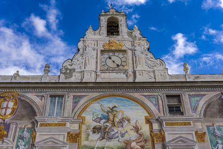 GENOA, ITALY - MARCH 9, 2018: View at Palazzo San Giorgio in Genoa, Italy. Palace was built in 1260 and facade was refrescoed in the late 19th century Editorial