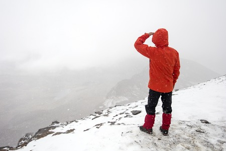 Man on the Chalcaltaya mountain in Cordillera range at Bolivia Stock Photo
