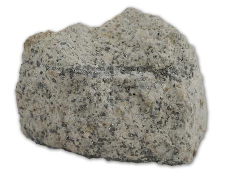 Bekijk op graniet magmatische rots geïsoleerd op de witte achtergrond Stockfoto