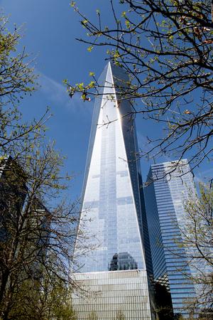 ニューヨーク、アメリカ - 2016年4月4日:ニューヨークのワンワールドトレードセンターの詳細。541mで西半球で最も高い建物です。 報道画像