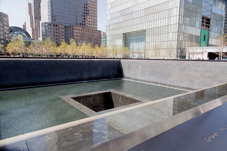 NEW YORK, USA - AUGUST 30, 2017: Detail of World trade center memorial in New York. It is a memorial and museum commemorating the September 11, 2001 attacks.