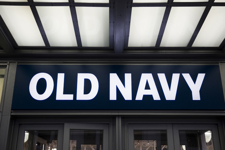 NEW YORK, USA - AUGUST 31, 2017: Detail of Old Navy store in New York. It is an American clothing and accessories retailing company founded at 1994. Editorial