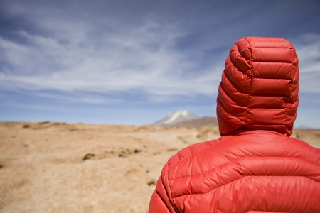 Young man looking at View at Licancabur volcano in Reserva Nacional de Fauna Andina Eduardo Avaroa in Bolivia Stock Photo