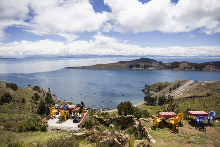 Isla del Sol,  biggest island on the high altitude lake Titicaca in Bolivia Stock Photo