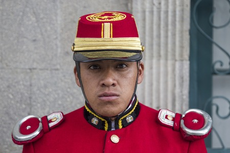 LA PAZ, BOLIVIA - JANUARY 12, 2018: Unidentified soldier at Mausoleum of Marshal Andres de Santa Cruz in La Paz, Bolivia. Editorial