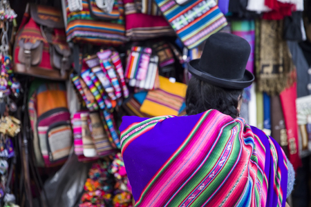 Unidentified woman on the Witches market in La Paz, Bolivia. Stock Photo
