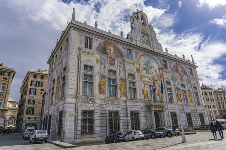 GENOA, ITALY - MARCH 9, 2018: View at Palazzo San Giorgio in Genoa, Italy. Palace was built in 1260 and facade was refrescoed in the late 19th century Stock Photo - 98390523