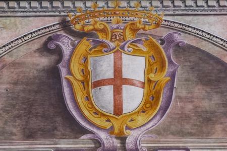 제노바, 이탈리아 -2018 년 3 월 3 일 : 제노바, 이탈리아에서 Palazzo San Giorgio에서 세부 사항. 궁전은 1260 년에 지어졌으며 19 세기 후반에 외관이 재 장식되