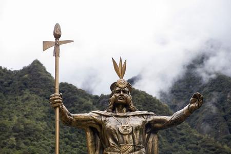 AGUAS CALIENTES, PERU - JANUARY 3, 2018: Statue of Pachacuti in Aguas Calientes, Peru. Pachacuti was the 9th Sapa Inca of the Kingdom of Cusco.