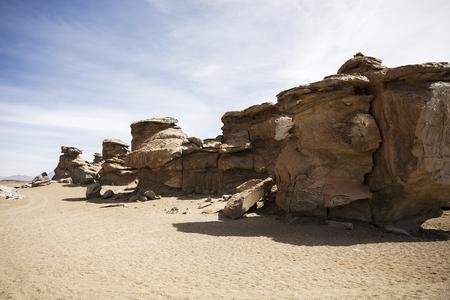 Rock formations of Dali desert in Bolivia at Eduardo Avaroa Andean Fauna National Reserve in Bolivia Stock Photo