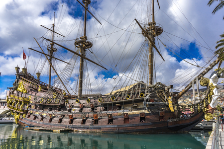 GENOA, ITALY - MARCH 9, 2018: Galleon Neptun in Porto antico in Genoa, Italy. It is a ship replica of a 17th century Spanish galleon built in 1985 for Roman Polanski's film Pirates. 報道画像