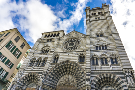 Genoa Cathedral in Italy. Genoa Cathedral is a Roman Catholic cathedral dedicated to Saint Lawrence and is the seat of the Archbishop of Genoa. Stock Photo