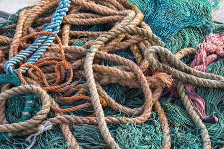 Closeup view at the fishing net on the boat Stock Photo