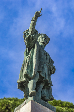 View at monument to Christopher Columbus in Rapallo, Italy