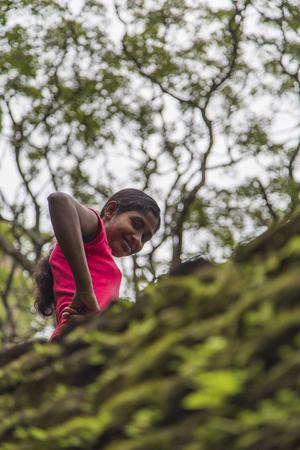 MATALE, SRI LANKA- JANUARY 28, 2014: Unidentified woman at Sigiriya Rock Fortress at Matale. Editorial