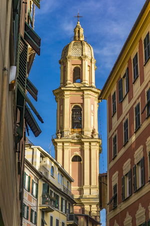 Bell tower of the basilica of San Gervasio e Protasio in Rapallo, Italy
