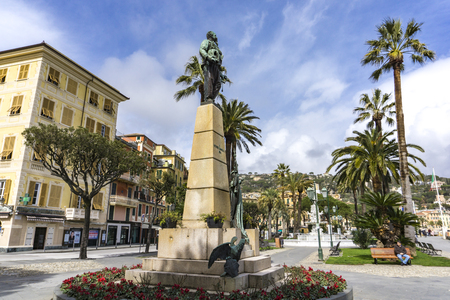 SANTA MARGHERITA LIGURE, MARCH 12, 2018: Monument to Victor Emmanuel II in Santa Margherita Ligure, Italy. Monument to first king of a united Italy was built at 1894.