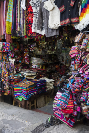 LA PAZ, BOLIVIA - JANUARY 10, 2018: Traditional handcrafts on the Witches market in La Paz, Bolivia. It is a popular tourist attraction located in Cerro Cumbre.