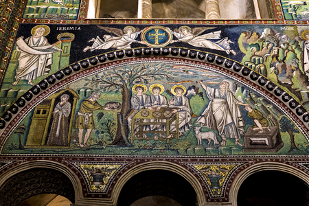 RAVENNA, ITALY - FEBRUARY 16, 2018: Interior detail of Basilica of San Vitale in Ravenna, Italy. It one of the most important examples of early Christian Byzantine art and architecture