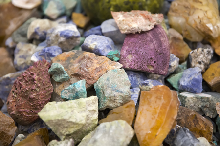 Detail of the pile of raw precious stones