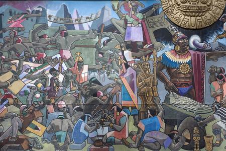 CUSCO, PERU - JANUARY 5, 2018: Detail of mural in Cusco, Peru. Mural that shows the entire history of Peru was made by Juan Bravo in 1992. 報道画像