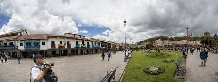 CUSCO, PERU - JANUARY 1, 2018: Unidentified people on the street of Cusco, Peru.