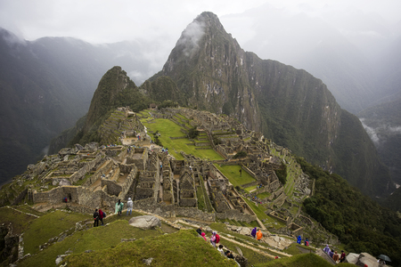 Aerial view at Machu Picchu ruins in Peru 免版税图像
