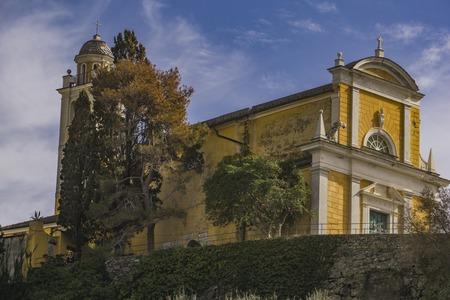 View at church of San Giorgio in Portofino, Italy 写真素材