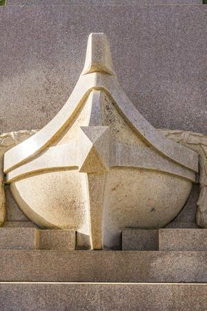 라팔로, 이탈리아에서 크리스토퍼 콜럼버스 기념비에서 세부 사항 스톡 콘텐츠