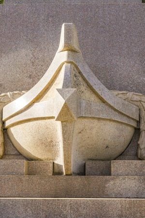 Detail from monument to Christopher Columbus in Rapallo, Italy Stock Photo