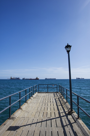 Pier on Mediterranean sea at Limassol, Cyprus Stock Photo