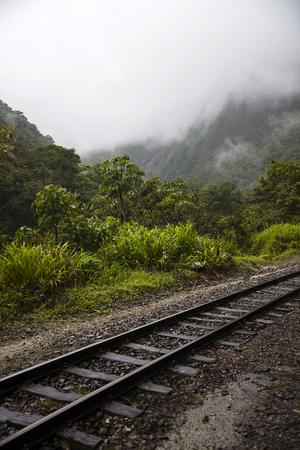Railroad between Cusco and Machu Picchu at Aguas Calientes in Peru