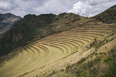 Agricultural terraces at Sacred Valley in Pisac, Peru