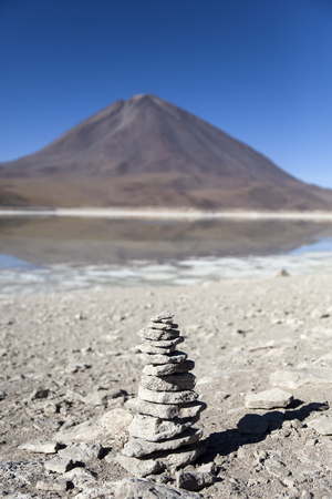 View at Laguna Verde lake and Licancabur volcano in Reserva Nacional de Fauna Andina Eduardo Avaroa in Bolivia