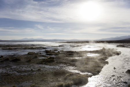 Aguas terrmales de Polques in Eduardo Avaroa Andean Fauna National Reserve in Bolivia