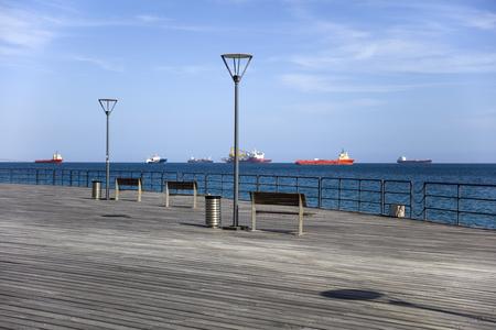 Pier on Mediterranean sea at Limassol, Cyprus Banco de Imagens