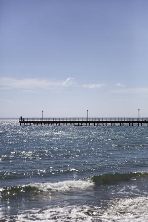 Pier on Mediterranean sea at Limassol, Cyprus 스톡 콘텐츠 - 100340826