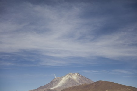 View at Licancabur volcano in Reserva Nacional de Fauna Andina Eduardo Avaroa in Bolivia