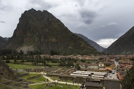 View at Colossal Sanctuary of Ollantaytambo in Peru