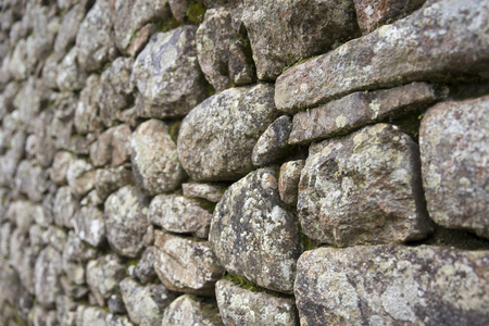 Closeup detail of the old stone wall