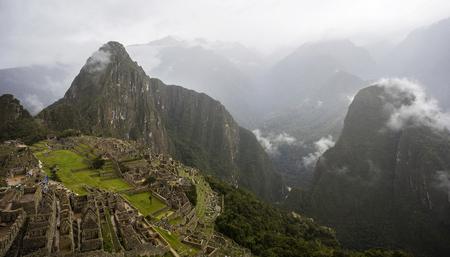 Aerial view at Machu Picchu ruins in Peru Banque d'images