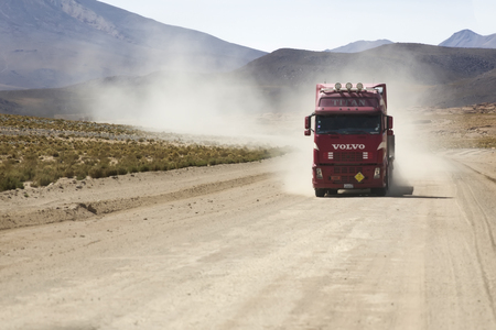 BOLIVIA - JANUARY 14, 2018: Truck on the unpaved road in Bolivia. At 2004 more than 92% of roads in Bolivia were unpaved. 에디토리얼