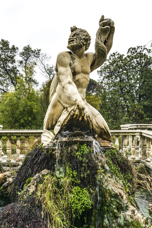 GENOA, ITALY - MARCH 11, 2018: Detail from Giardino del Satiro at Villa del Principe in Genoa, Italy. Villa was built between 1521 and 1529 for Andrea Doria, Admiral of Emperor Charles V. Standard-Bild - 100888257