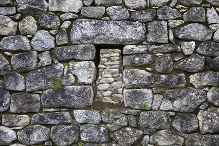 Detail of the stone wall at Machu Picchu, Peru Foto de archivo - 100922471