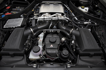 BELGRADE, SERBIA - APRIL 30, 2018: Detail of engine of 2017 Mercedes-AMG GT C Coupe. AMG GT C Coupe was unveiled at the 2017 Detroit Auto Show. 報道画像